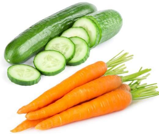 rimedi naturali con carota e cetriolo