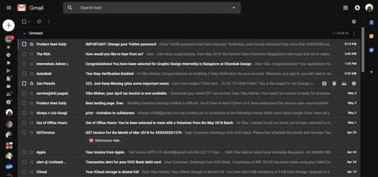 gmail sfondo nero