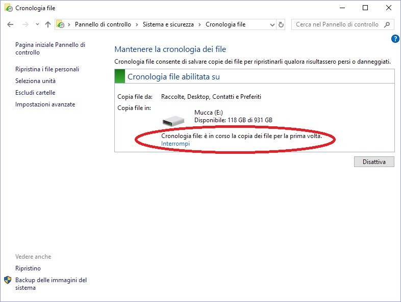 cronologia windows per recuperare file