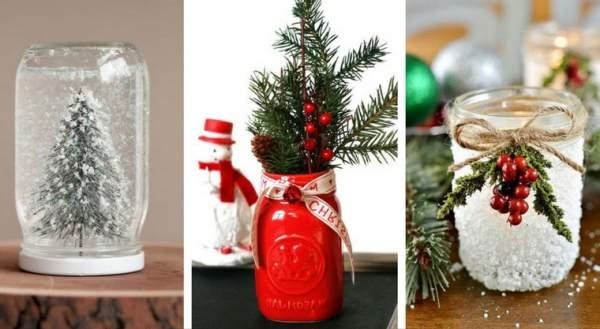 decorazioni natalizie fai da te con i barattoli