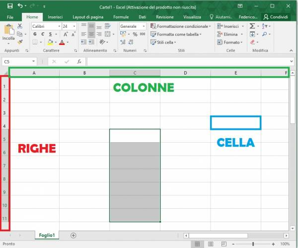 righe colonne e celle excel