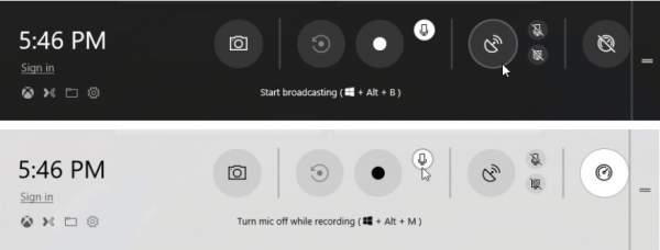 barra dei giochi per registrare video