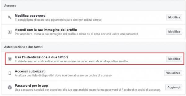 sicurezza a due fattori di facebook