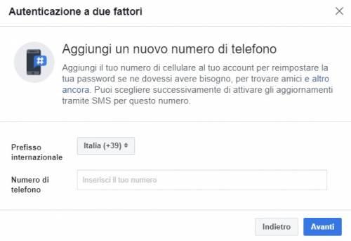 protezione facebook con telefono