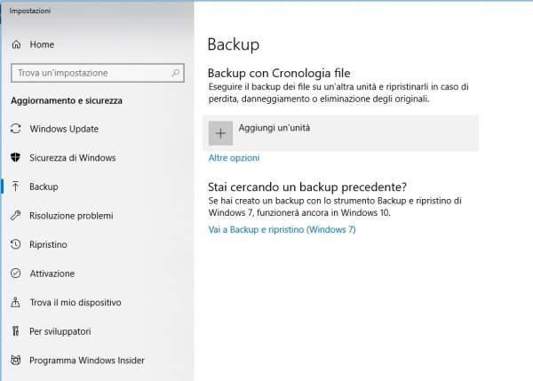 fare il backup del computer con windows 10
