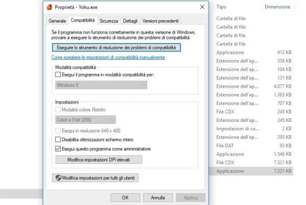 modalità compatibilità windows