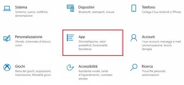 impostazioni programmi e app su windows