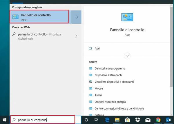 pannello di controllo di windows 10