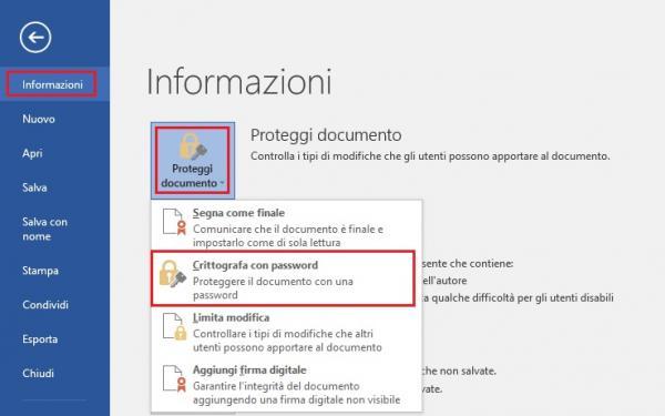 proteggere documento di word