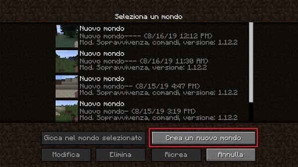 nuovo mondo su minecraft