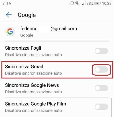 disattivare la sincronizzazione delle mail