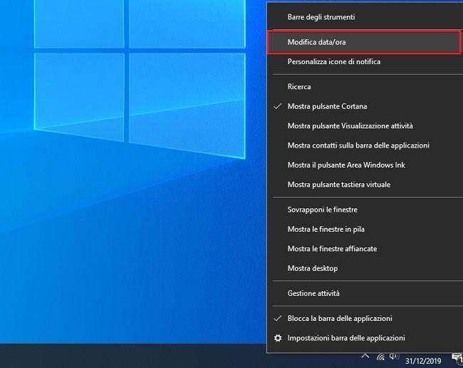 modificare data e ora su windows 10