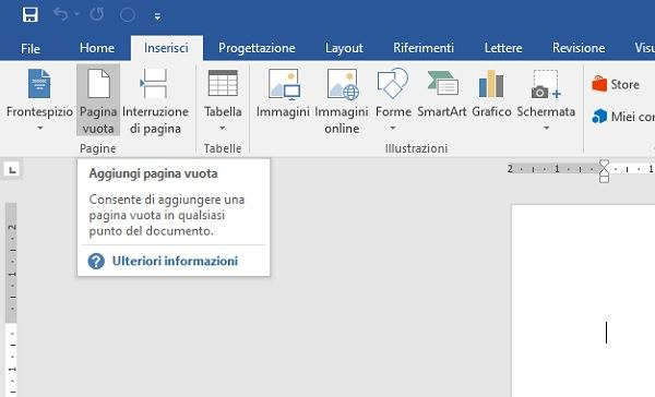 pagina vuota in word