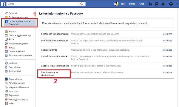 trovare impostazioni per disattivare facebook