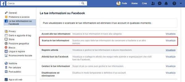 scarica informazioni private da facebook
