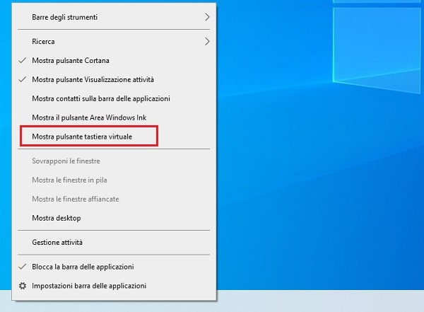 tastiera virtuale windows