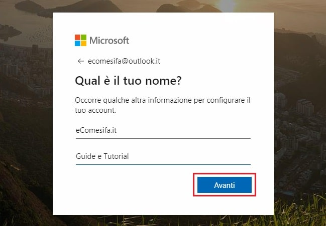 dati per mail outlook