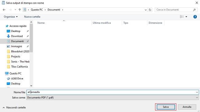 salvare un file in pdf
