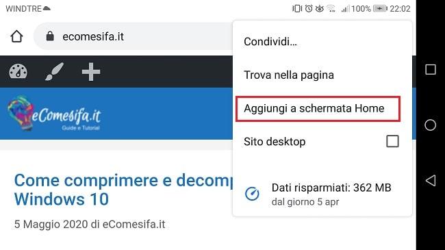 collegamento pagina web su home android