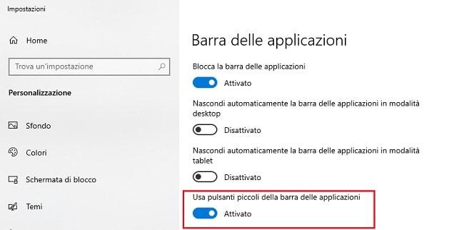 modificare dimensione icone della barra delle applicazioni
