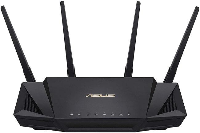 ASUS RT-AX58U Router Mesh Wifi 6 AX3000 Dual-band, Aimesh, Tecnologia OFDMA e MU-MIMO, RangeBoost di gioco, Trend Micro AiProtection Pro security, QoS adattivo