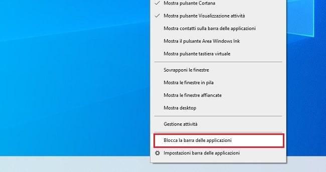 sbloccare barra di windows