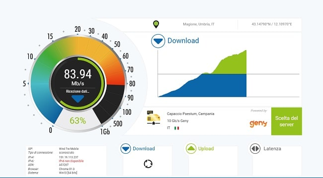 controllare velocità internet