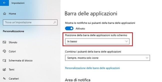 posizione della barra delle applicazioni