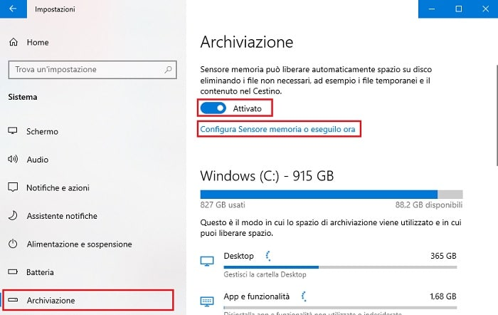 attivare sensore memoria windows 10