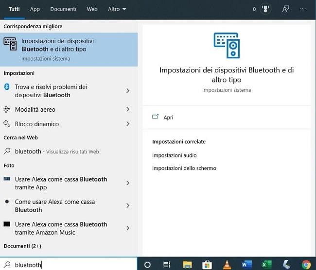 aprire menu bluetooth su windows 10