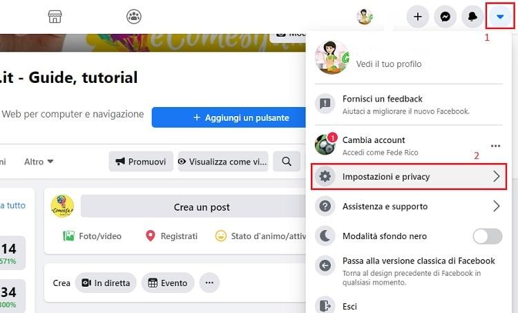 impostazioni e privacy di facebook