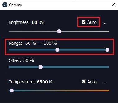 impostazione automatica luminosità con gammy