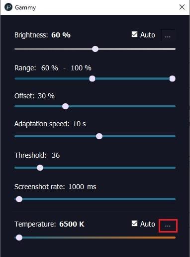 cambiare la temperatura del colore dello schermo