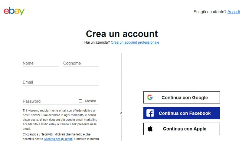 fare account ebay