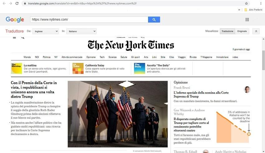 pagina tradotta con google