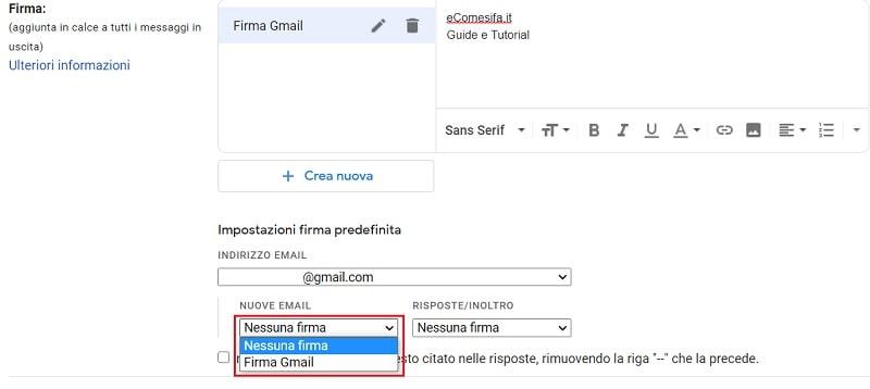 impostare la firma su gmail