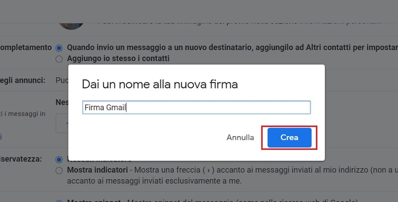 firma su google gmail