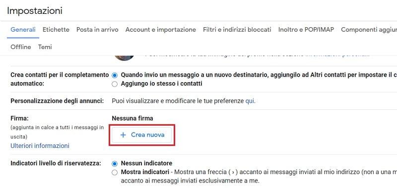 creare nuova firma su gmail