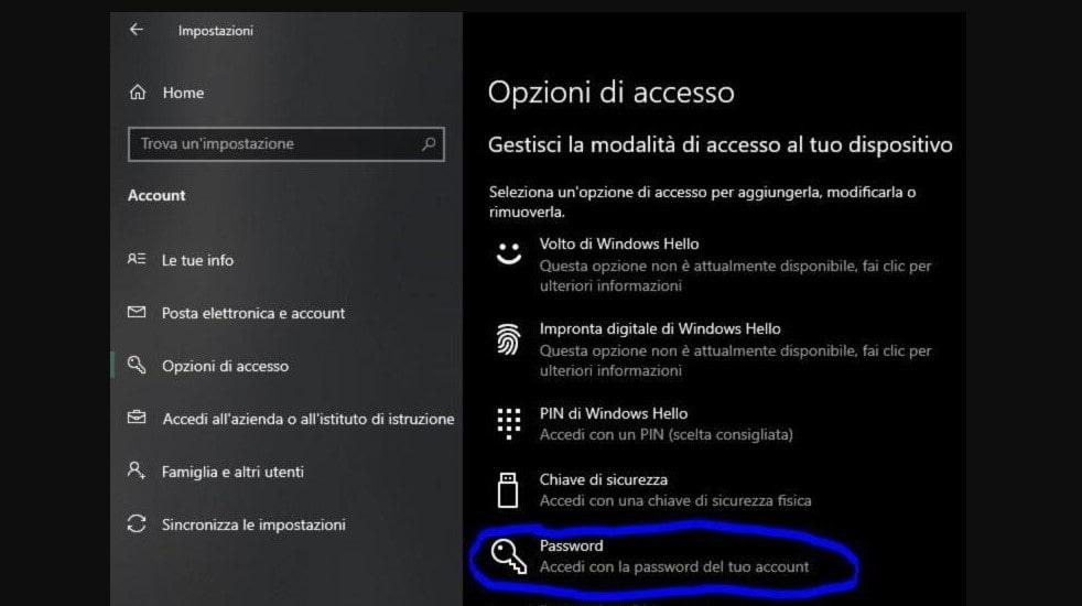 cambiare password di windows 10