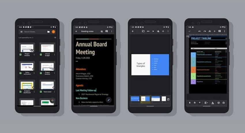 attivare tema scuro sui documenti android