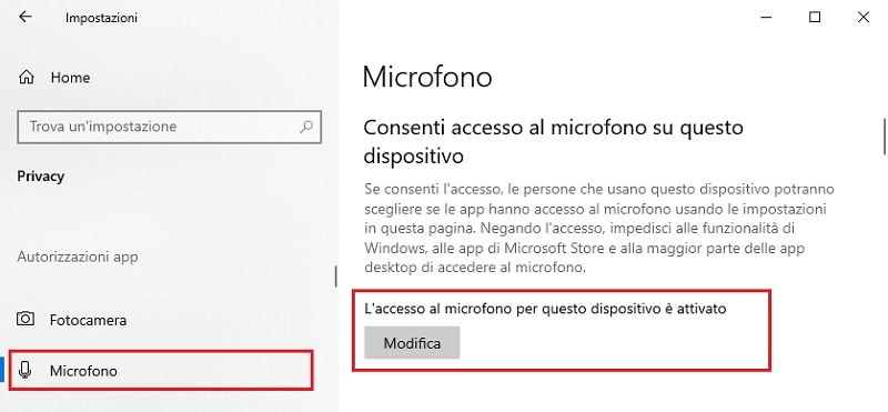 attivare microfono su windows