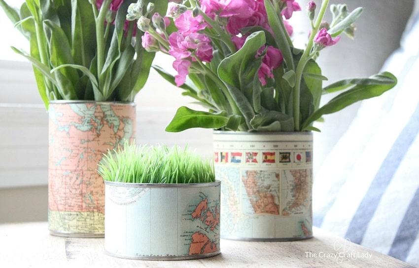 vaso con barattoli riciclati