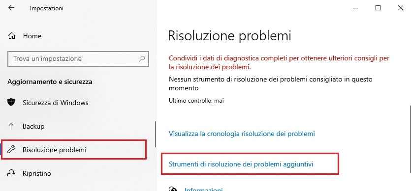 risoluzione problemi audio windows