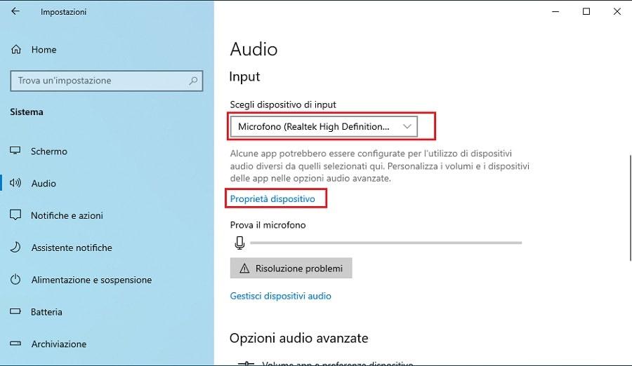 suoni di Windows 10