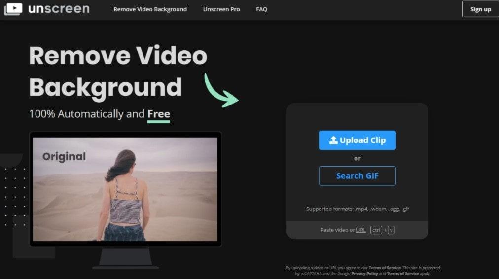 togliere sfondo da video online