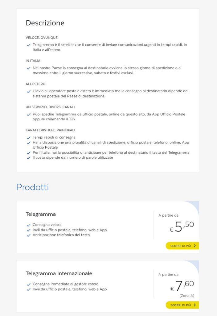 prezzi telegramma online