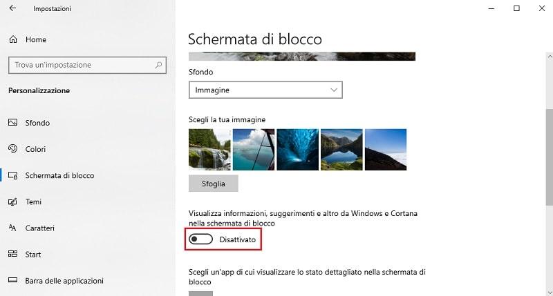 rimuovere suggerimenti schermata di blocco di windows 10