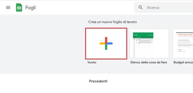 nuovo foglio excel google
