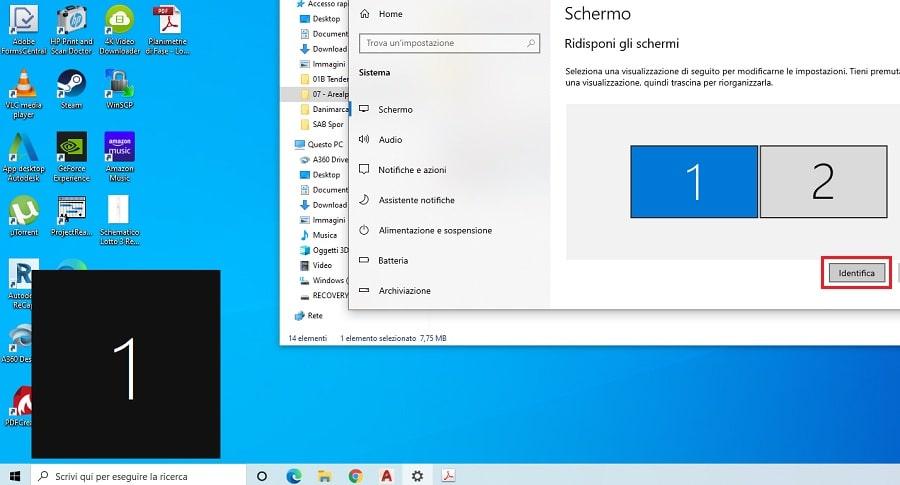identificare schermo su windows 10
