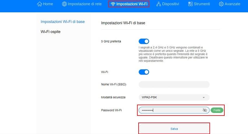 modifica password internet wifi